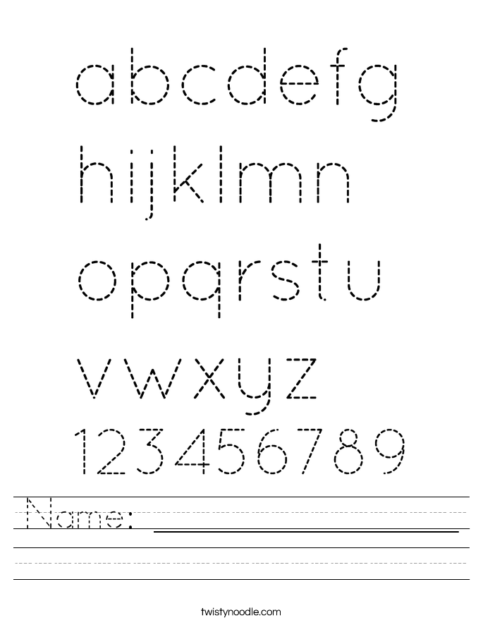 Name Worksheet Twisty Noodle – Custom Handwriting Worksheets