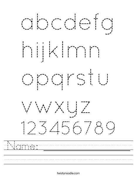Printables Trace Name Worksheets name worksheet twisty noodle abc worksheet