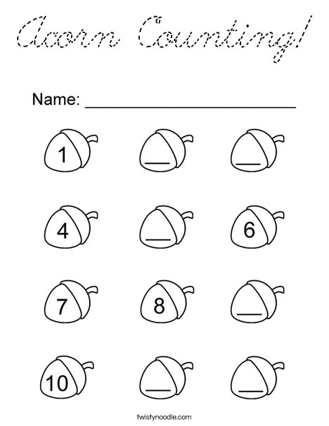 Acorn Counting! Coloring Page