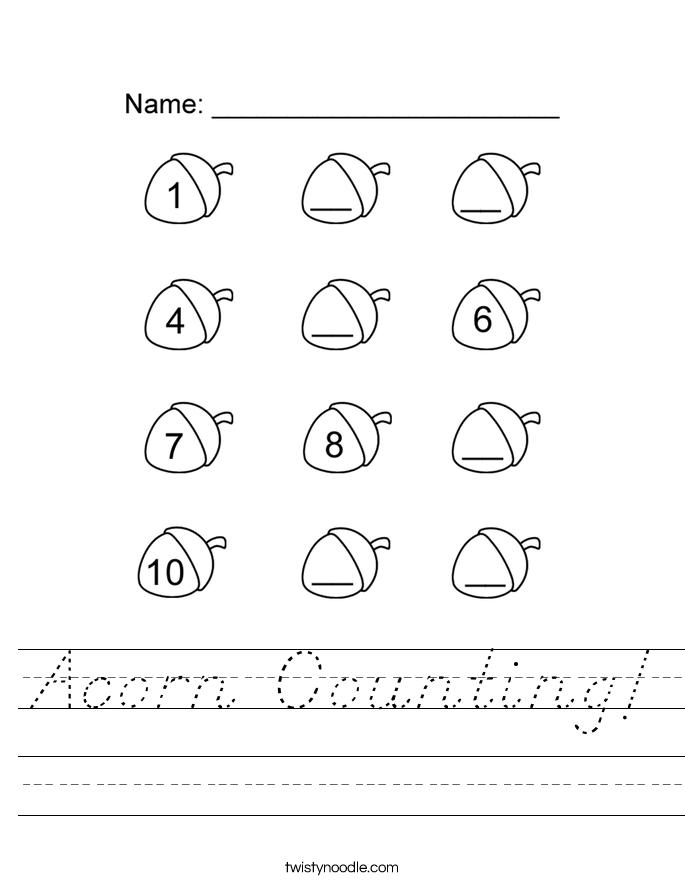 Acorn Counting! Worksheet