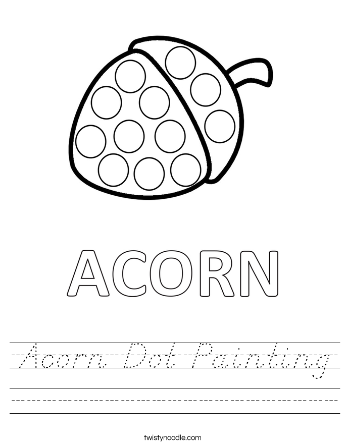 Acorn Dot Painting Worksheet
