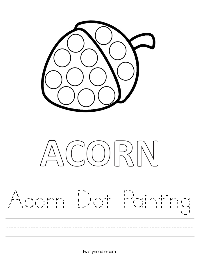 Acorn Dot Painting Worksheet