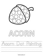 Acorn Dot Painting Handwriting Sheet