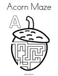 Acorn Maze Coloring Page
