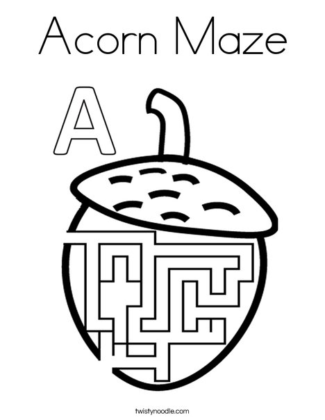 Acorn Maze Coloring Page