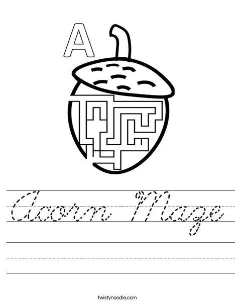 Acorn Maze Worksheet