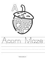 Acorn Maze Handwriting Sheet
