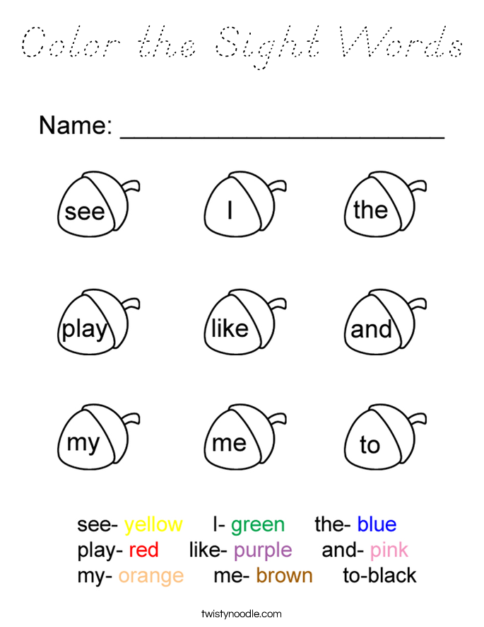 Color the Sight Words Coloring Page