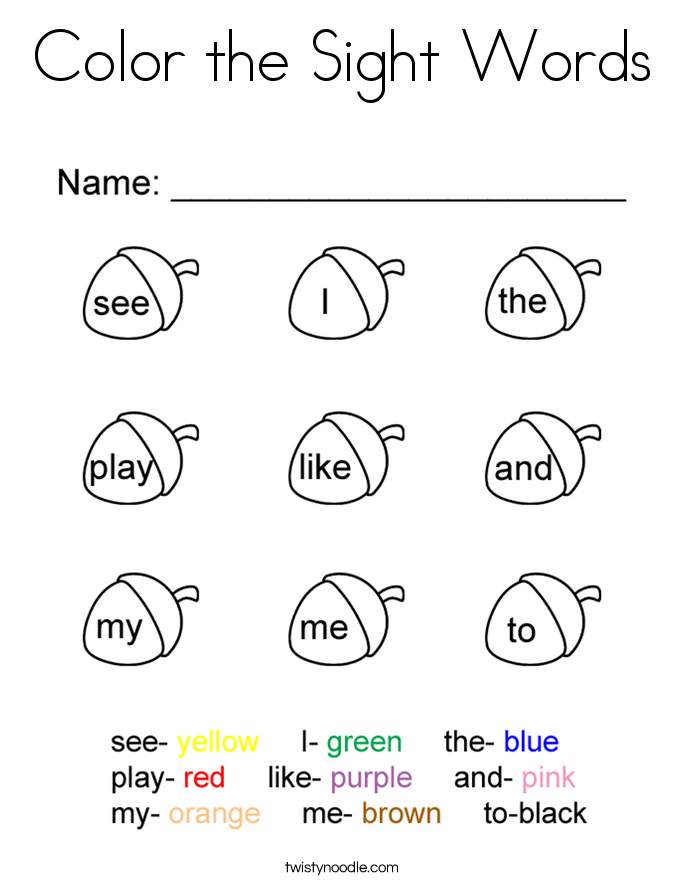 Worksheet Color By Sight Word Worksheets sight words coloring pages twisty noodle color the page