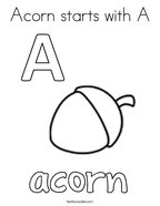 Acorn starts with A Coloring Page