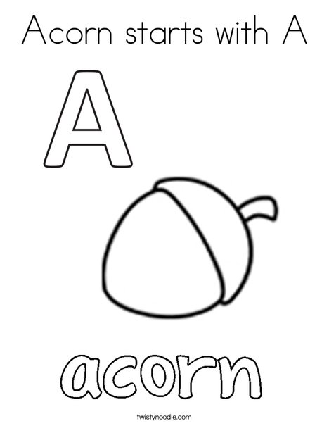 Acorn starts with A. Coloring Page