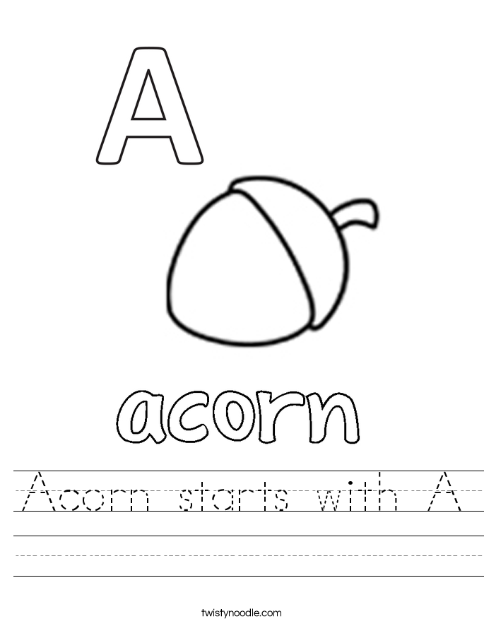 Acorn starts with A Worksheet