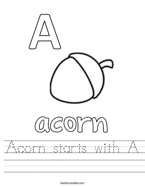 Acorn starts with A. Worksheet