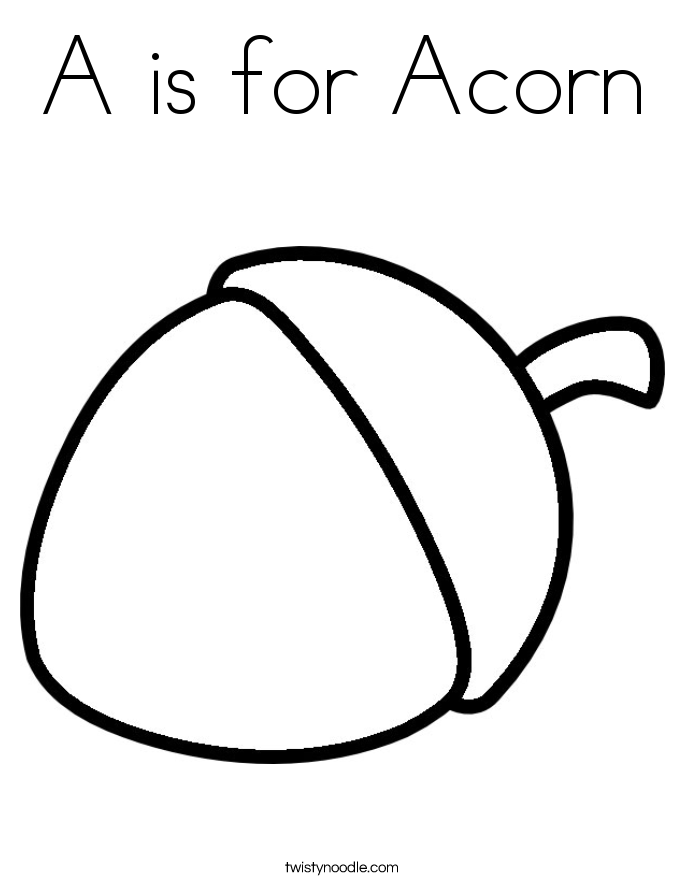 A is for Acorn Coloring Page