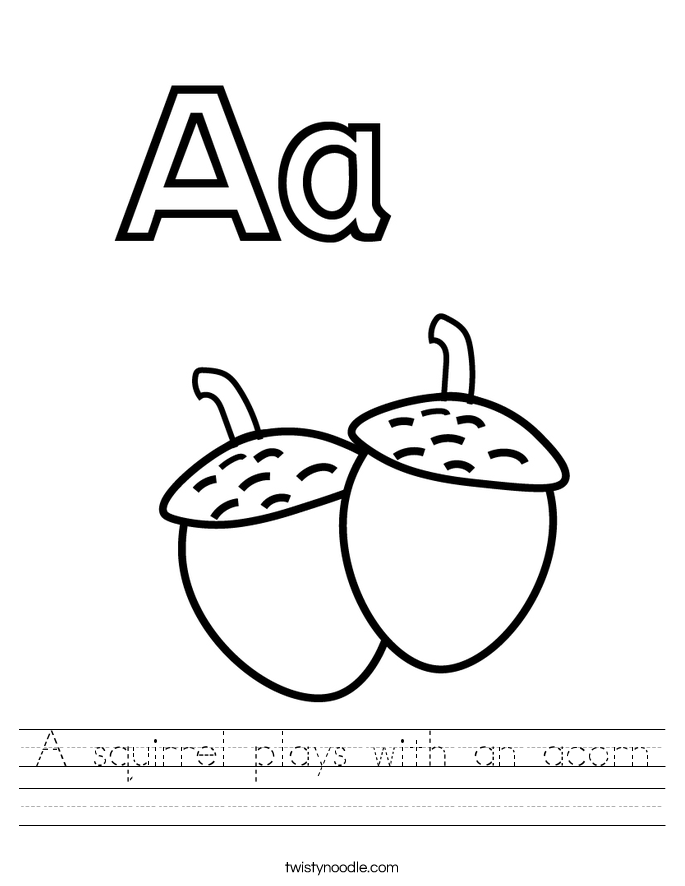 A squirrel plays with an acorn Worksheet