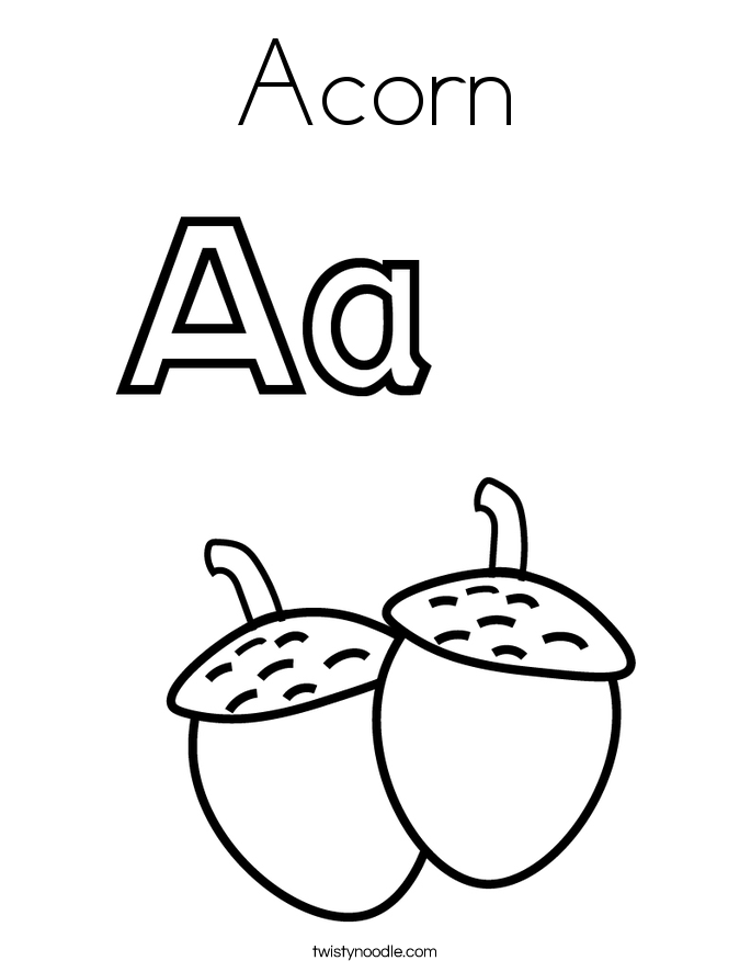 Acorn And Leaf Template Acorn coloring page.