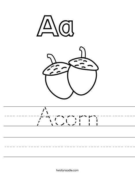 Acorns Worksheet