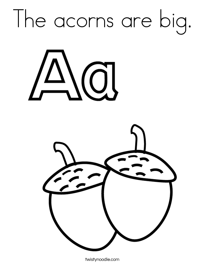 The acorns are big. Coloring Page