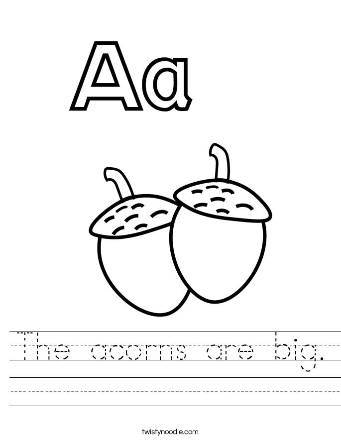 The acorns are big. Worksheet