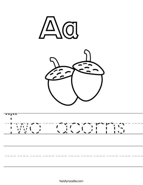 Acorns Worksheet