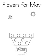 Add flowers for May Coloring Page