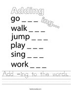Add -ing to the words Handwriting Sheet