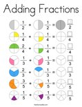 Adding Fractions Coloring Page