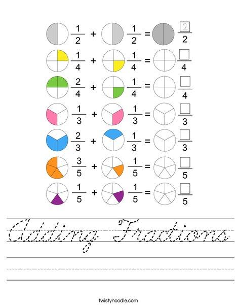 Adding Fractions Worksheet