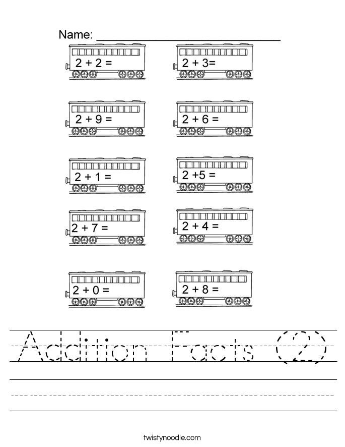 math worksheet : addition facts 2 worksheet  twisty noodle : 2 Addition Facts Worksheet