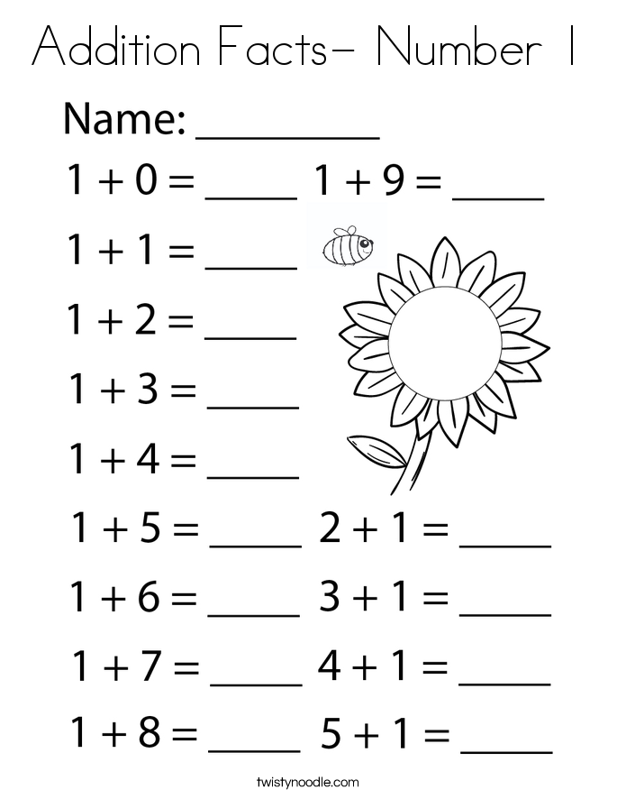 Addition Facts- Number 1 Coloring Page