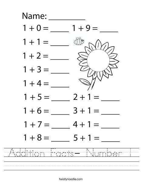 Addition Facts- Number 1 Worksheet
