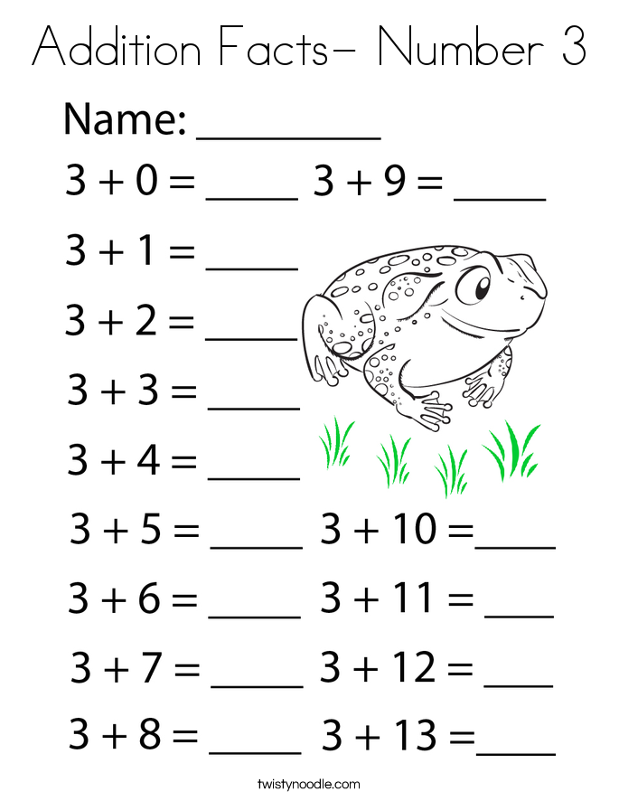 Addition Facts- Number 3 Coloring Page
