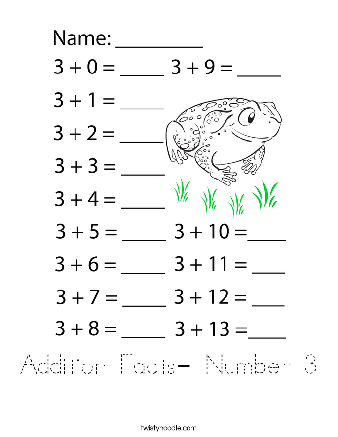 Addition Facts- Number 3 Worksheet