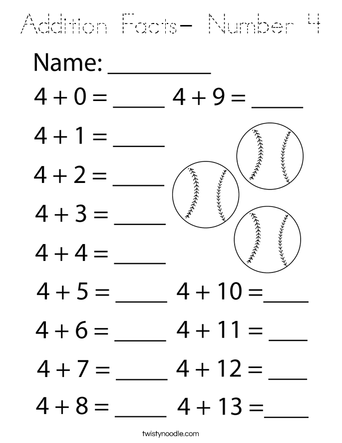 Addition Facts- Number 4 Coloring Page