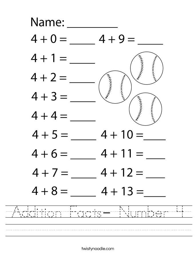 Addition Facts- Number 4 Worksheet