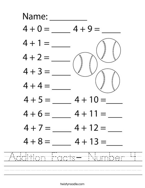 Addition Facts-Number 4 Worksheet