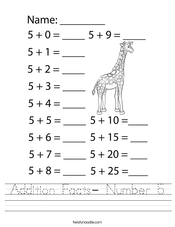 Addition Facts- Number 5 Worksheet