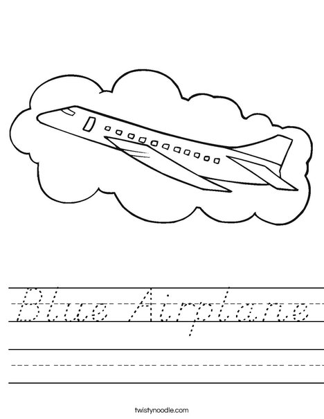 Airplane with Cloud Worksheet