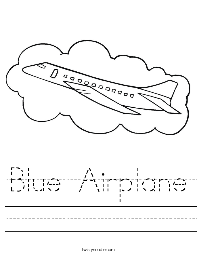 Blue Airplane Worksheet