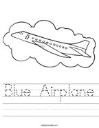 Blue Airplane Handwriting Sheet