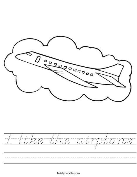 Airplane with Cloud Worksheet