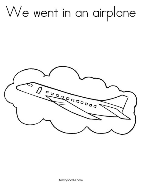 Airplane with Cloud Coloring Page