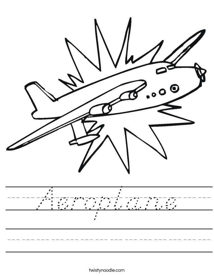 Aeroplane Worksheet