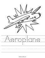 Aeroplane Handwriting Sheet