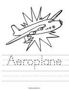 Aeroplane Handwriting Sheet