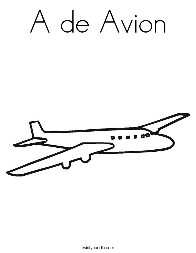 A de Avion Coloring Page