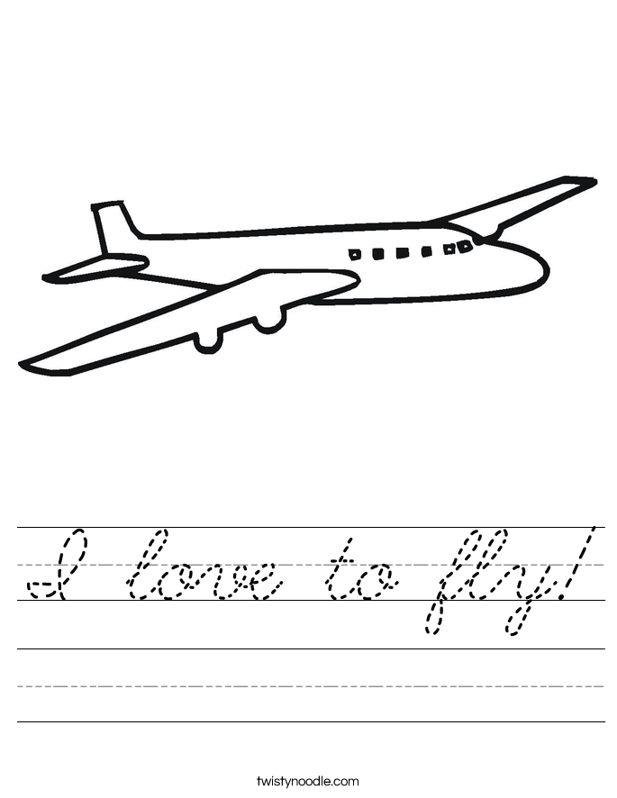 I love to fly! Worksheet