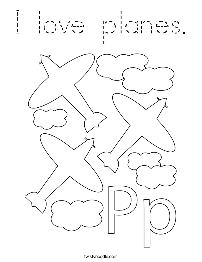 I love planes. Coloring Page