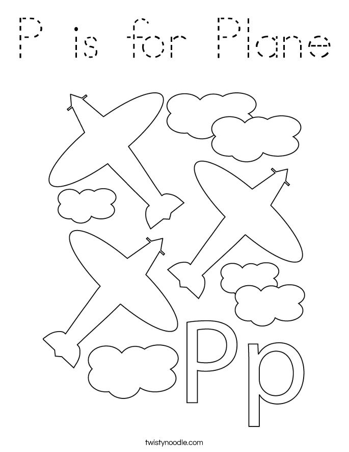 P is for Plane Coloring Page
