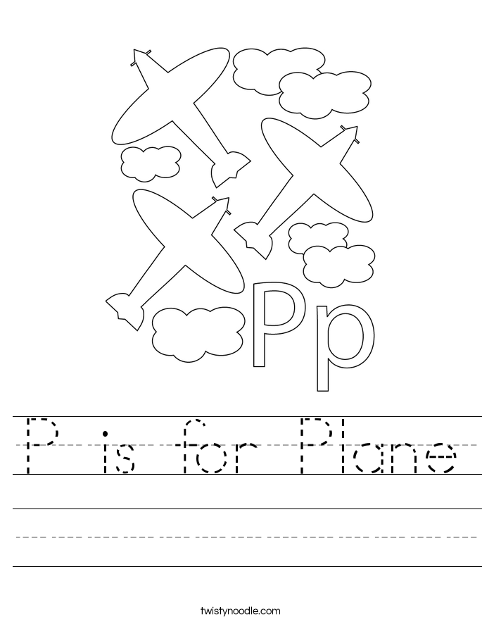 P is for Plane Worksheet Twisty